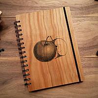 """Деревянный блокнот """"Яблоко"""" А6 (бумага 105х148 мм)"""