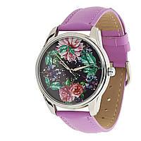 """Часы наручные """"Сад"""" с цветами фиолетовые, фото 1"""