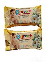 Влажные салфетки Bravo+ для детей, ромашка, большая упаковка