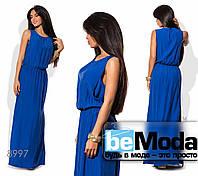 Эффектное женское длинное платье с разрезами по бокам синее