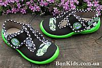 Тапочки на мальчика польские с зеленой подошвой 3F детская текстильная обувь р.19,20,21,23,24