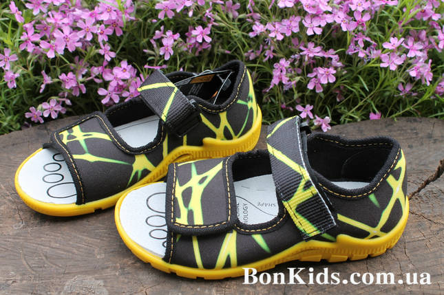235605fc13b9 Желтые босоножки тапочки на мальчика польская детская текстильная обувь тм  3F р.28, фото