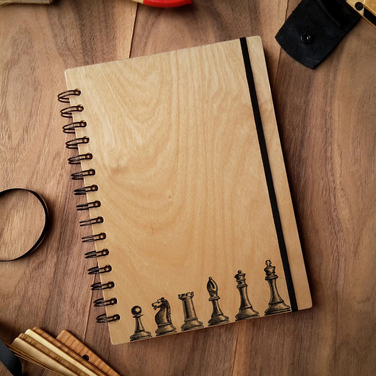 "Деревянный блокнот ""Шахматы"" А5 (бумага 148х210 мм), фото 1"