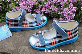 Тапочки детские на мальчика клетка детская текстильная обувь Zetpol Зетпол р.20,21
