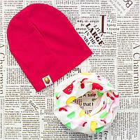 Набор: детская шапка и шарф - кольцо Малиновый