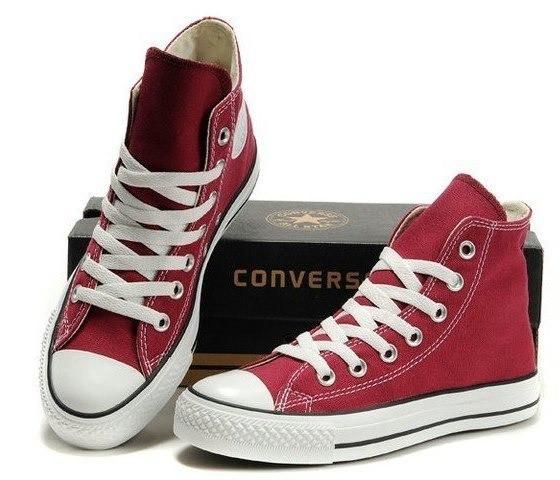 Кеди в стилі Converse ALL STAR (конверси) Бордові високі в коробці