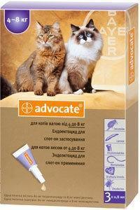 Bayer Advocate 1 пипетка-капли для кошек весом от 4 кг до 8 кг