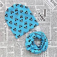 Комплект: детская шапка и шарф - кольцо Микки Маус