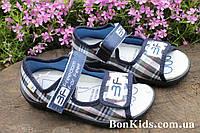 Тапочки босоножки клетка на мальчика польская текстильная обувь тм 3F р. 25