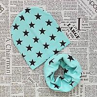 Комплект: детская шапка и шарф - кольцо Звездочка