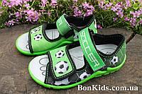 Открытые босоножки с рисунком футбол на мальчика, польская текстильная обувь тм 3F р.25