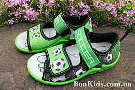 Открытые босоножки с рисунком футбол на мальчика, польская текстильная обувь тм 3F р.25,27