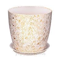 """Горшок цветочный лакированный """"Мрамор белый"""" 5л H=20cm D=22cm керамический."""