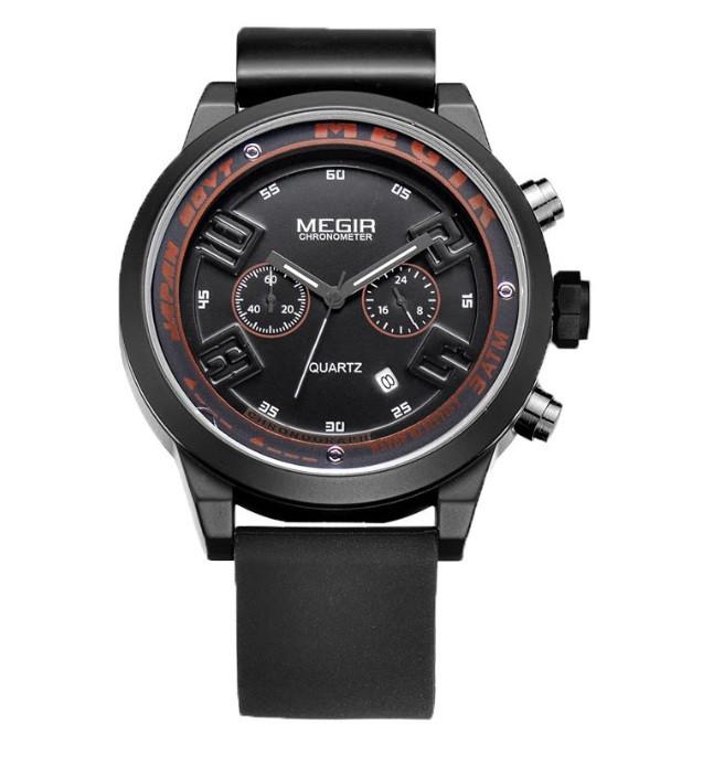 Мужские часы Megir 2008 black-red - гарантия 12 месяцев