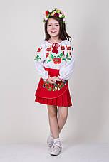 Вышиванка для девочки на белом батисте с красными маками , фото 3