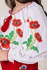 Вышиванка для девочки на белом батисте с красными маками , фото 2