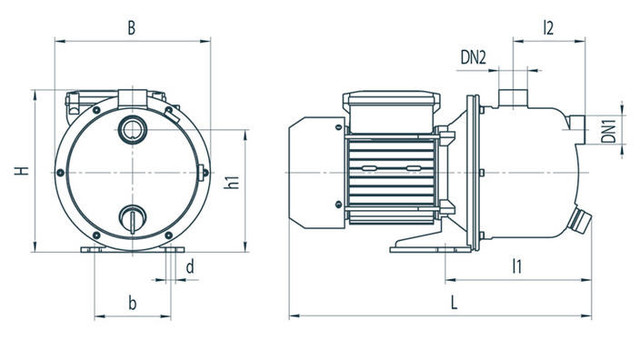 Вихревой бытовой поверхностный насос Rudes JS 110 размеры