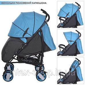 Детская коляска-трость Bambi (M 3411-1) с глубоким капюшоном (Голубой), фото 2