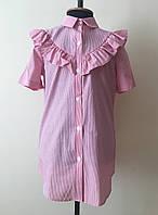 Детская блузка-рубашка на девочку с коротким рукавом
