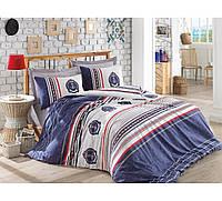Хлопковый комплект постельного белья ЕВРО размера Cotton Box ARMA LACIVERT CB03
