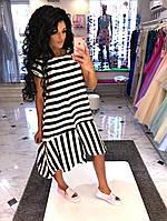 Модное женское платье свободного фасона-каскад / Украина / коттон