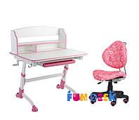 Детская растущая парта для дома FunDesk Volare II Pink + Детское кресло SST5 Pink