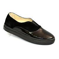 Женские черные туфли на утолщенной плоской подошве, натуральная лаковая кожа и замша.