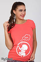 Футболка Alyva baby, с рисунком,  для беременных (коралл), фото 1
