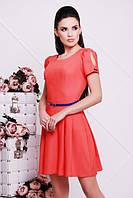 Молодежное летнее коралловое платье ПУГОВКА 42-50 размеры