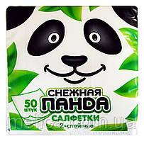 Салфетки бумажные Снежная Панда белые 2 слоя 24 х 24 см - 50 шт.
