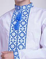 Подростковая вышитая рубашка  Тарас голубой