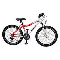 Велосипед спортивный подростковый 24 дюймов XM241B PROFI цвет бело-красный