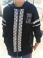 Детская кофта для мальчика, на замке, черного цвета