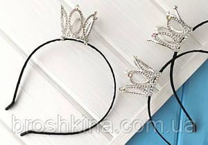 Обруч с короной в стразах металл под серебро