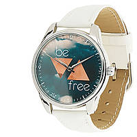 """Часы стильные """"Будь свободным"""" с белым ремешком"""