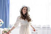 \Молочная льняная шляпа с синими чайками
