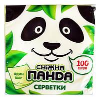 Салфетки бумажные Снежная Панда цветные 1 слой 24 х 24 см - 100 шт.