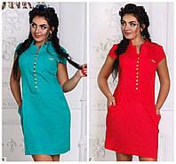 Льняное платье яркого цвета большого размера 50-54