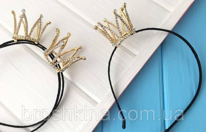 Обруч с 3D короной в стразах металл под золото