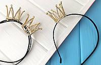 Обруч с короной в стразах металл под золото