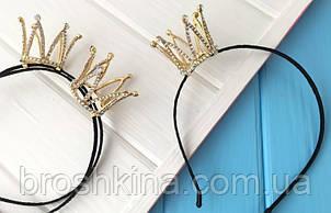 Обруч з 3D короною в стразах метал під золото