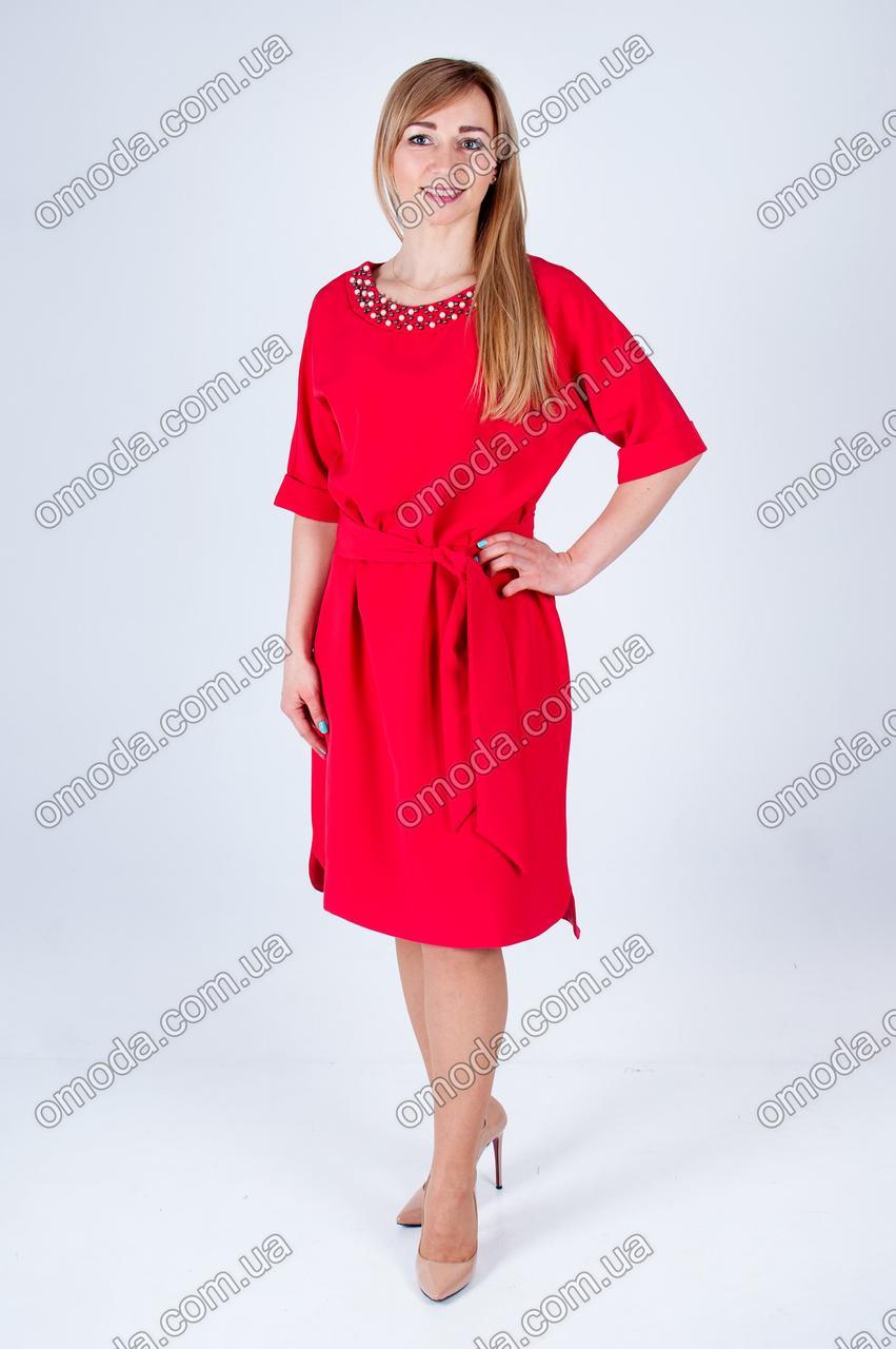 Стильное женское платье с отделкой бусинками красного цвета - Интернет-магазин «Omoda» в Киеве