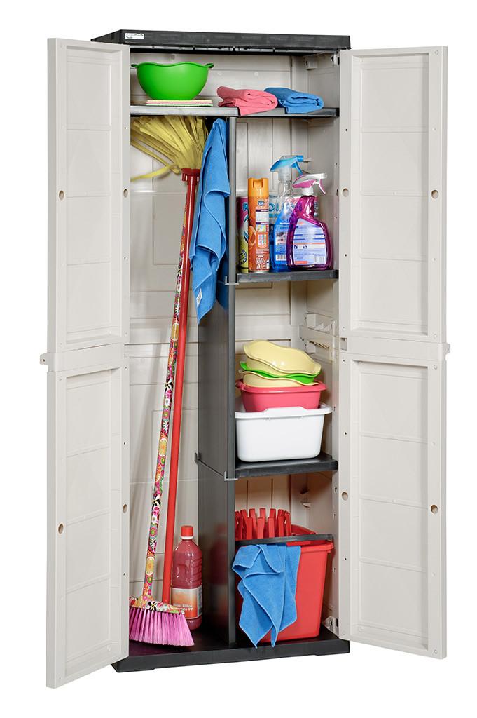 Шкаф пластиковый на 2 отделения  с 3мя полками TOP LINE