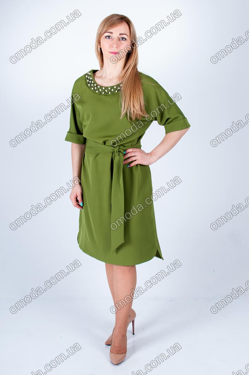Стильное женское платье с отделкой бусинками оливкового цвета - Интернет-магазин «Omoda» в Киеве