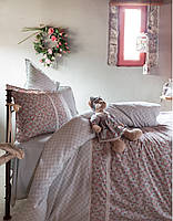 Постельное белье Karaca Home - Emily bej бежевое ранфорс + игрушка полуторное