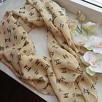 Тонкий шарф Chanel, беж шифон