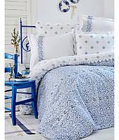 Постельное белье Karaca Home - Marino 2017-2 blue ранфорс полуторное