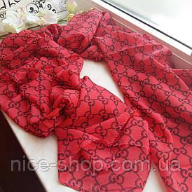 Тонкий шарф Gucci красный шифон