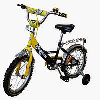 """Велосипед Марс 16"""" ручной тормоз  + эксцентрик (желтый / черный)"""