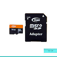 Карта памяти micro SDHC 16 Gb Team Class 10+adapter